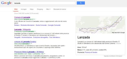risultati per lanzada su Google