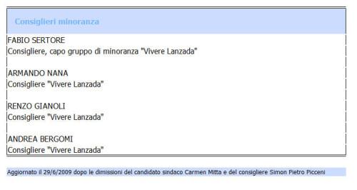 sito di Lanzada amministrazione