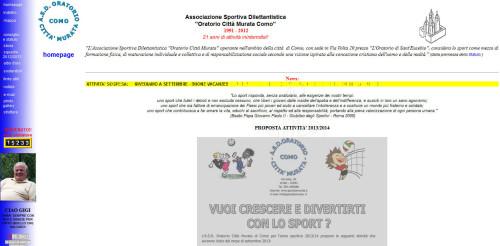 l'homepage del sito dell'oratorio di Como