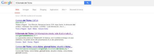 giornale del ticino su google