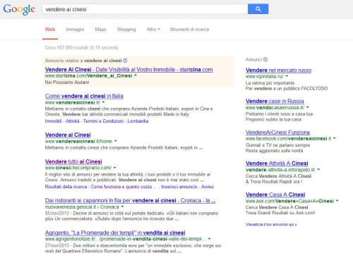 vendere ai cinesi su google