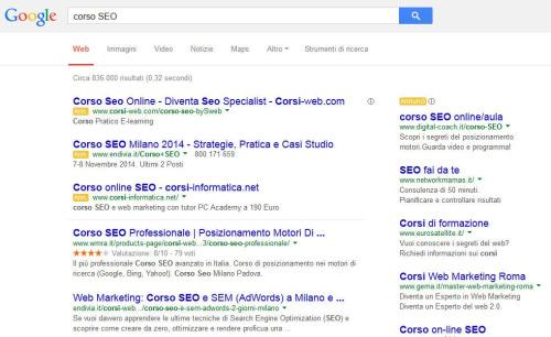 corso SEO su google
